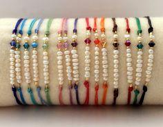 Items similar to pearl bar bracelet, pearl swarovski bracelet,white pearl bracelet,fall colors bracelets, waxed cord bracelets on Etsy Handmade Rakhi Designs, Handmade Jewelry Designs, Bracelet Crafts, Cord Bracelets, Swarovski Bracelet, Pearl Bracelet, Bead Jewellery, Beaded Jewelry, Jewelry Necklaces
