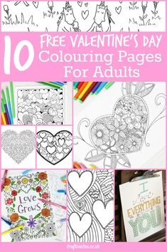 10 gorgeous free Valentines Day colouring pages for adults. Detailed grown up coloring pages including hearts, flowers and Valentines Day quotes.