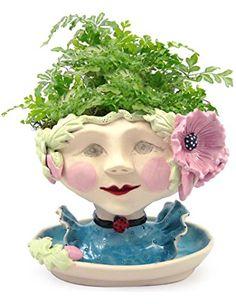 Victorian Lovelies Sculpted Indoor Head Planter: Poppy Pink Version
