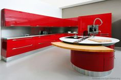 Pictures of Kitchens - Modern - Red Kitchen Cabinets (Kitchen Kitchen Design Gallery, Modern Kitchen Design, Kitchen Designs, Home Decor Kitchen, Kitchen Interior, Kitchen Ideas, Red Interior Design, Interior Photo, Red Kitchen Cabinets