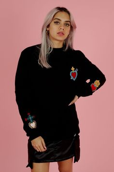 **Black Badged Sweater by Illustrated People