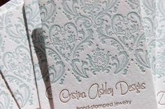 Letterpress Business Cards - Calling Cards - LETTERPRESS - Damask 2 color- 200 cards by Invited Ink (Print Lucille's announcement on business cards, attach to photo with ribbon! Letterpress Business Cards, Letterpress Printing, Calling Cards, Custom Thank You Cards, 2 Colours, Book Design, Damask, Stationery, Etsy Shop