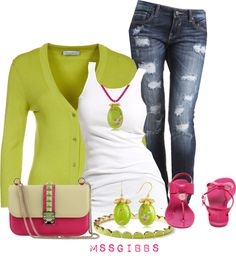 """Neon Summer"" by mssgibbs on Polyvore"