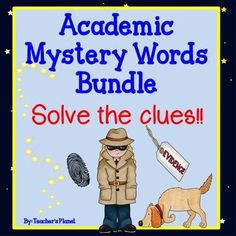 This bundled set of 44 Academic Mystery Words is a fun way for your students to gain insight and understanding into important words they need to know. Get one set free by buying the bundle!Each word poster includes 4 clues to help reveal the Academic Mystery Word.