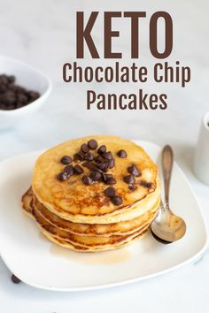 Start your day right with this amazing Keto pancake recipe. Add your favorite sugar free chocolate chips for the perfect Keto pancakes. Quick Keto Breakfast, Best Breakfast, Breakfast Recipes, Breakfast Casserole, Breakfast Gravy, Breakfast Ideas, Breakfast Pancakes, Lunch Recipes, Breakfast Cereal