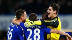 @Chelsea Thibaut Courtois celebration with the blues #9ine