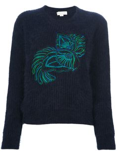 Black Mohair Embroidered Sweater
