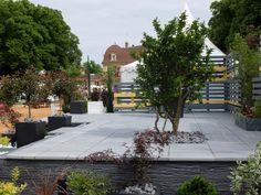 Dalle de terrasse en pierre reconstituée Pierre du Lot de PIERRA, choisie pour la réalisation d'un jardin urbain.