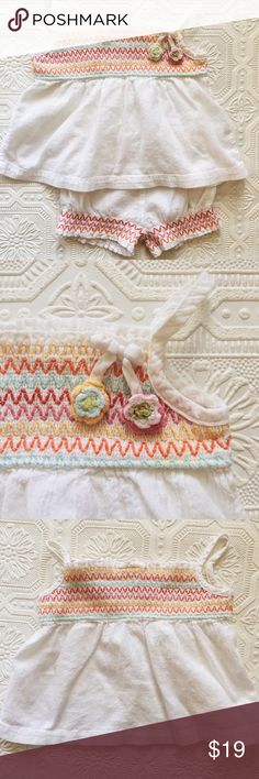 Vintage Gymboree Boho Outfit Vintage Gymboree (2006) size 3-6 mo outfit in excellent condition! Gauzy cotton spaghetti strap top and bubble shorts. Smocking and multicolor chevron pattern embroidery. Crochet flowers hang from a tiny bow. Gymboree Matching Sets