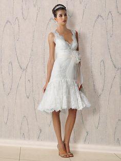 Spitze Apart Kurz Neckholder V-Ausschnitt Hochzeitskleid mit Schärpe ...
