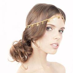Yazilind Damen Hübsche Goldhaar Legierung Tropfen Kettenkopfstück Kopfschmuck   Your #1 Source for Beauty Products