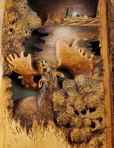 Moose Carved on Wood Anniversary Gift Wood Carving by DavydovArt