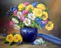 Jarrones y Flores al Óleo, Waheed Nasir | Bodegones y Paisajes Cuadros al Óleo