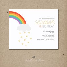 over the rainbow: birthday invitation