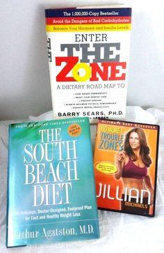 Lot of 2  Books 1 DVD Enter the Zone - South Beach Diet - JILLIAN MICHAELS zones
