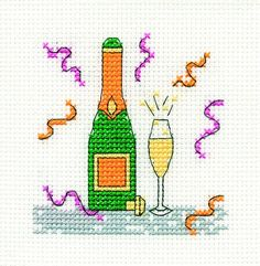 champagne glass and bottle (picture only) Free Cross Stitch Charts, Dmc Cross Stitch, Cross Stitch Freebies, Cross Stitch Cards, Cross Stitch Samplers, Cross Stitching, Bday Cards, Happy Birthday Cards, Cross Stitch Designs