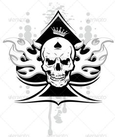 Buy ace of spades skull by samandale on GraphicRiver. ace of spades with skull with a crown and a tribal Ace Of Spades Tattoo, Skull Wallpaper, Wallpaper Backgrounds, Iphone Wallpaper, Skull Tattoos, Body Art Tattoos, Crane, Totenkopf Tattoos, Graphic Prints