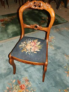 Image detail for -... ANTIQUE VICTORIAN ROSE CARVED BALLOON BACK NEEDLEPOINT CHAIR   eBay