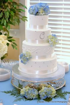 Blue Silver Indoor Reception Monogrammed Round Spring Wedding Cakes Photos & Pictures - WeddingWire.com