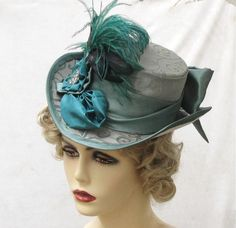 1900s Victorian Riding Hat in Teal Tapesrty Fabric with by BuyGail, $185.00