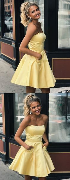 Simple Prom Dress, Cute Yellow Satin Strapless Short Prom Dresses with Pockets, Yellow Homecoming Dresses, Graduation Dresses, Simple Evening Dresses Saloni Dresses dresses short Short Strapless Prom Dresses, Yellow Homecoming Dresses, Prom Dresses With Pockets, Unique Prom Dresses, Long Prom Gowns, Hoco Dresses, Dance Dresses, Ball Dresses, Sexy Dresses
