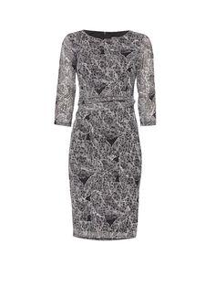 Phase Eight Gedrapeerde jurk met grafische bladerprint • de Bijenkorf