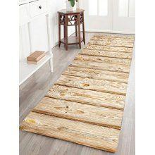 Wood Grain Flannel Skid Resistant Rug