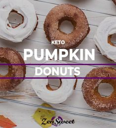 A delicious baked pumpkin donut recipe made with almond flour. These donuts are sugar free and use ZenSweet Monk Fruit Sweetener for healthier treats that taste like the real thing! Top these how you'd like -- we love a sweet cinnamon topping or a rich buttercream!