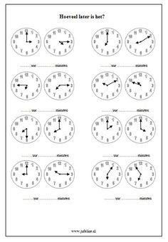 Domein: Meten. Onderdeel: Tijd. Doel: Analoge kloktijden aflezen. Primary School, Elementary Schools, Math Clock, Creative Writing Ideas, Co Teaching, Preschool Learning Activities, 1st Grade Math, Telling Time, Math For Kids
