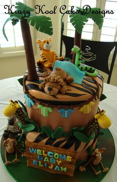 Jungle, Safari, and Zoo Cake Ideas & Inspirations Torta Baby Shower, Baby Boy Shower, Jungle Theme Cakes, Safari Cakes, Lion Cakes, Giraffe Cakes, Zoo Cake, Animal Cakes, Cakes For Boys