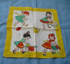 "Vintage Childs Handkerchief, Girl Doing Daily Chores, 8 1/2""x 8 1/2"", ex"