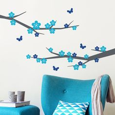 Cherry Blossom Tree and Butterflies Wall Decal by SirFaceGraphics Kids Wall Decals, Nursery Wall Decals, Wall Decal Sticker, Bedroom Wall, Wall Stickers, Butterfly Wall Decals, Cherry Blossom Tree, Tree Branches, Butterflies