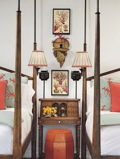 A Faudree design- this guest room's theme is coral inspired.