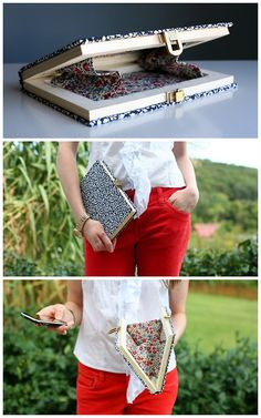 TUTORIAL! DIY Book Clutch from Caught on a Whim. Really clear tutorial and you can leave the book as is or cover it with fabric.