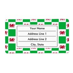 Welsh dragon pattern personalized shipping labels