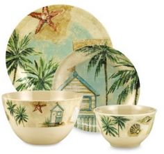 Beachcomber Melamine Dinnerware. A sandy beige ground adorned with sketches of palm trees, beach houses, shells, postcards