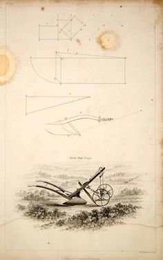 1852 Steel Engraving Antique Norfolk Wheel Plough Plow Agriculture Farming FD1 - Period Paper