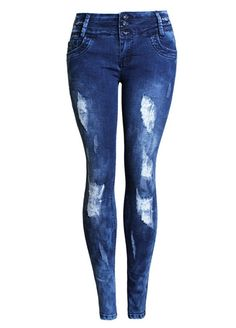 Wash Denim Sculpt Slim Ripped Skinny Jeans_Butt Lifting Skinny ...