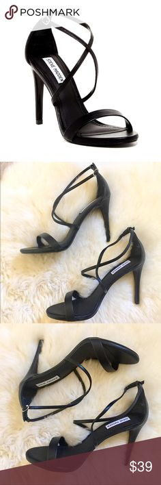 "Steve Madden Black Strappy Heeled Sandals New In Box - black heeled sandal with open toe and criss cross strap with ankle strap detail. 4.25"" Heel. PU Upper, manmade sole. ** Have some imperfections in PU material in front  - shown in last picture. Steve Madden Shoes Sandals"