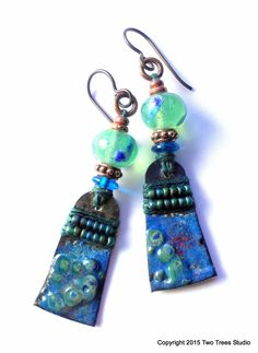 Gorgeous colorful and lightweight handcrafted artisan earrings, by Two Trees Studio.