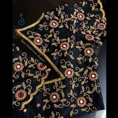To get your outfit customized visit us at Chennai, Vadapalani or call/msg us at for appointments, online order and further details. Embroidery On Kurtis, Kurti Embroidery Design, Embroidery Works, Couture Embroidery, Beaded Embroidery, Embroidery Patterns, Mirror Work Saree Blouse, Mirror Work Blouse Design, Simple Blouse Designs