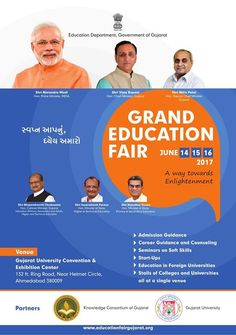 Grand Education Fair 2017; Gujarat University #Convention and #Exhibition Center Ahmedabad, All education related Information available in 300 Stalls of Universities, Colleges, Guidance for Admission in Foreign #Universities, Courses Run by State and Private Universities. #gujarat #education #fair #creativeyatra