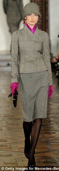 Ralph Lauren ~ 2012 collection.  Lovely Gray tweed jacket & skirt with cloche hat.  Brilliant purple scarf and matching gloves add a dash of sass.   Very British feel to it.