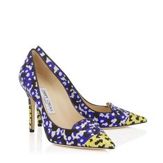New Choos!! Violet and Yellow Floral Printed Jacquard Pointy Toe Pumps | Avril | Spring Summer 15 | JIMMY CHOO Shoes