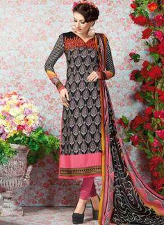 Blasting Black Embroidery Work Print French Crepe Churidar Suit http://www.angelnx.com/Salwar-Kameez/Churidar-Suits
