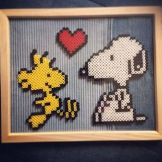 Woodstock and Snoopy perler beads by kiyoism23