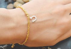 C-059 Gold Beaded bracelet, Seed bead bracelet, Horseshoe bracelet, Pendant Bracelet, Simple bracelet, Horse's hoof/Everyday jewelry/