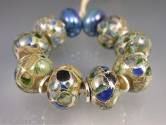 Opals, blues and greens over silvered ivory lampwork beads - Set of 10 - KATERI GLAMOUR - Beadwife SRA on Etsy, $40.00