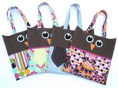 Owl totes. Wish someone would make me a class set!