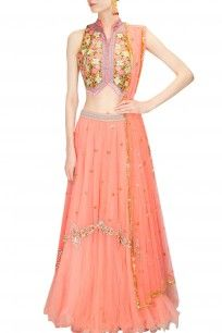Peach and gold floral beads and sequins embroidered lehenga set